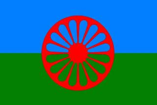 """Símbolo bandera del pueblo gitano, o """"rom"""""""